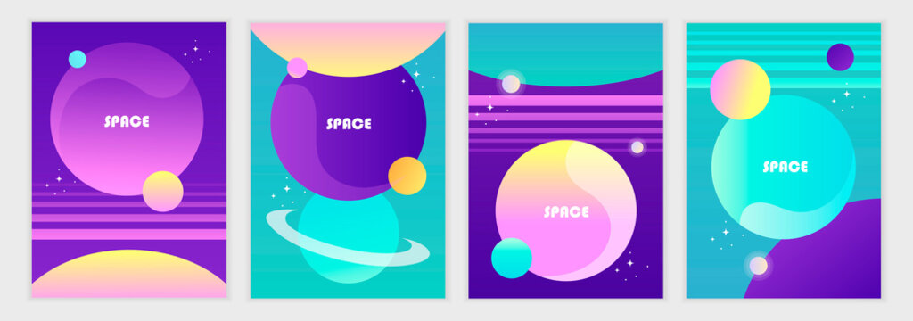 Set of abstract futuristic space backgrounds. Template for banner, poster, flyer, brochure, cover, card. Gradient, planets and stars. Vector illustration. EPS 10