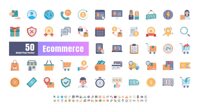 64x64 Pixel Perfect of Ecommerce Online Shopping Delivery. Flat Color Icons Vector. for Website, Application, Printing, Document, Poster Design, etc.