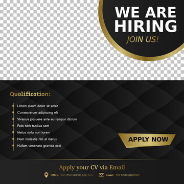 Job vacancy luxury template. We are hiring, job vacancy social media content.
