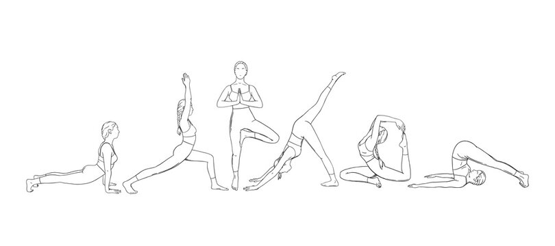 Yoga set with asanas. Set of woman exercising yoga illustrations. Hand drawn sketch vector illustration isolated on white background