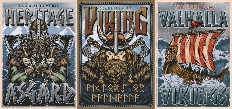 Vikings vintage colorful posters