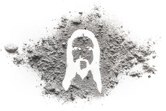 Face and head silhouette drawing of jesus Christ made in ash or dust as Ash wednesday, lent or Easter concept, christian religion symbol and suffering of God