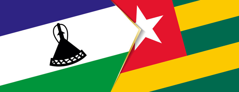 Lesotho and Togo flags, two vector flags.