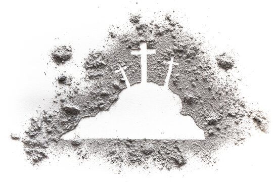 Golgotha hill with three cross and calvary of Jesus drawing in ash or dust as Ash wednesday, Lent, easter or Good friday concept, Way of the croos
