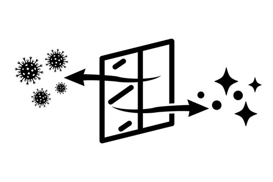 Ventilation air replacement icon, open window with the exchange of bacteria for fresh air - vector