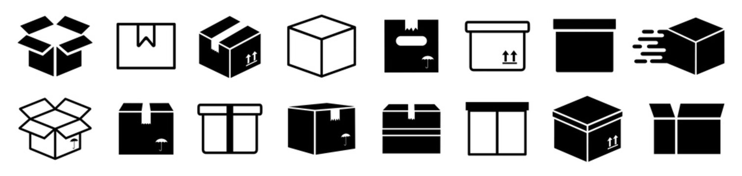 Set box express icons, delivery logo, shopping sign, collection simple flat carton box icon - stock vector