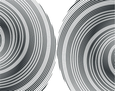 Black halftone dots in vortex form. Geometric art. Trendy design element.Circular and radial lines volute, helix.Segmented circle with rotation.Radiating arc lines.Cochlear