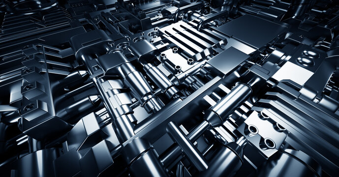 Industrial steel mechanical elements background