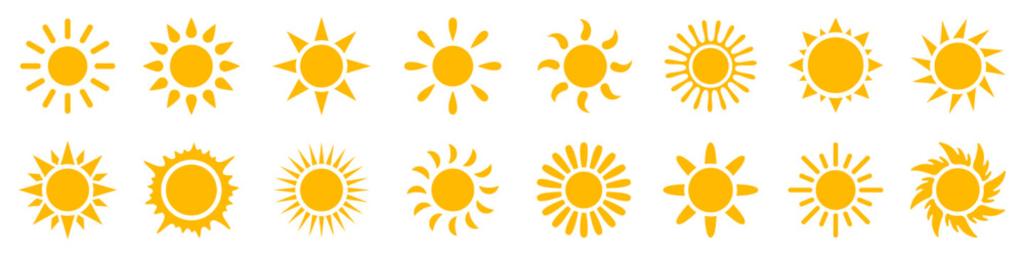 Set sun icons sign, solar isolated icon, sunshine, sunset collection, summer, sunlight – stock vector