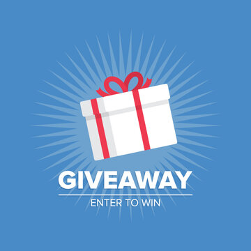 Giveaway poster template design for social media contests, post or special offer. Vector illustration.