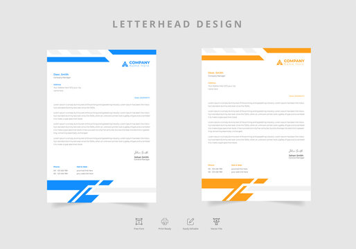 Professional letterhead template design in two colors Vector