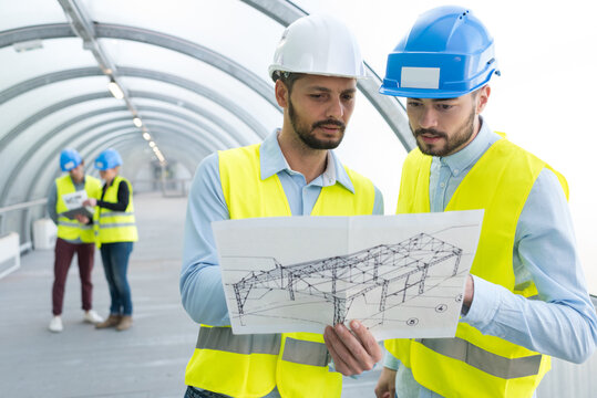 civil engineers studying of the tunnel design