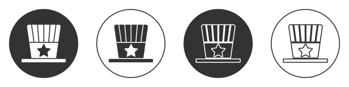 Black Patriotic American top hat icon isolated on white background. Uncle Sam hat. American hat independence day. Circle button. Vector.
