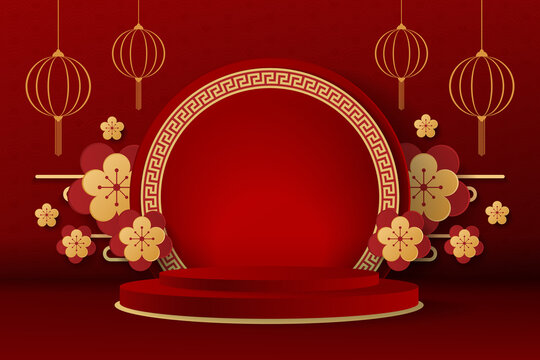 happy chinese new year concept. minimal scene with geometric forms. cylinder podium display or showcase mockup for product in red background. space for text. vector illustration