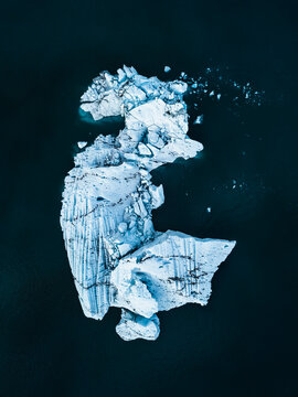 White ice on black surface