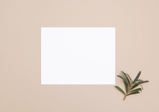 White blank horizontal 5x7 card on beige background, greeting card, invitation or thank you card mockup, stationery, boho style.