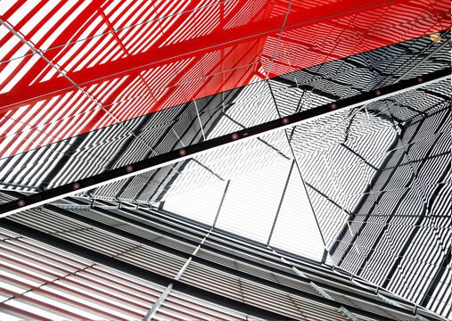 Red metal frame in a building