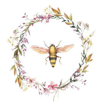 Watercolor bee illustration. Vintage wildflowers wreath.