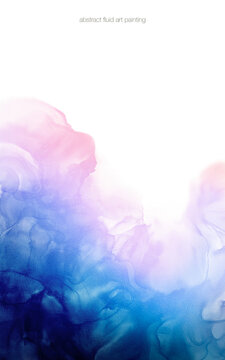 Abstract fluid art painting colorful pastel color pink and blue tone by alcohol ink and watercolor isolated on white space for background, banner, decoration.