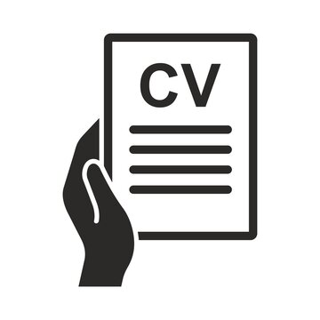 CV icon. Person resume. Applying for a job. Job interview. Vector icon isolated on white background.