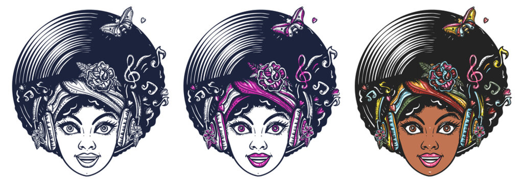 Funk music girl. African woman face with afro hairstyle, portrait. Hippie people. Old school tattoo vector art. Hand drawn cartoon character set. Isolated on white. Traditional tattooing style