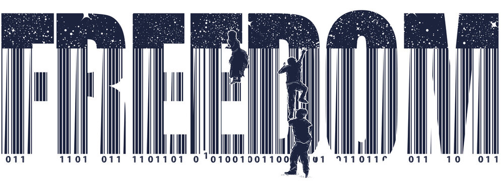 Freedom slogan. Bar code. Children climb over fence. Symbol of freedom and slavery, consumer society, globalization, future of mankind, digital world, big brother. Black and white surreal graphic