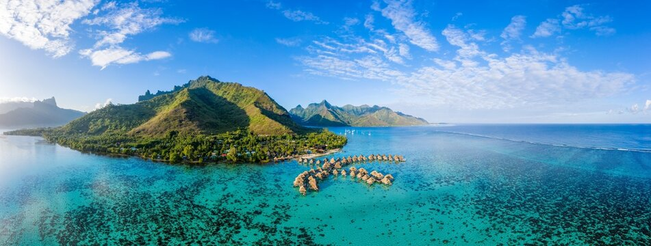 Aerial view of Moorea island in French Polynesia, Oceania