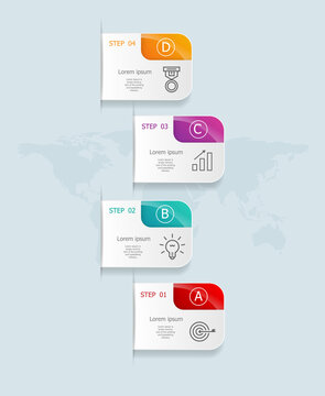 abstract vertical infographics 4 steps for business and presentation