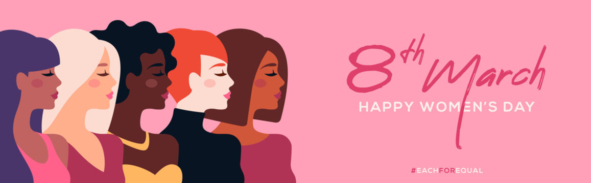 International Women's Day horizontal banner. Vector illustration. Woman of different nationalities standing together. Struggle for freedom, equality and independence flat character concept 8 March