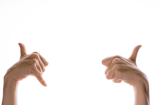 Hand gestures. shaka sign and thumbs up, like cool, youth gestures with two hands, isolated on white