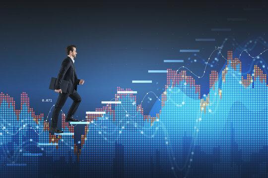 Business man climbing up on financial stock market chart. Intern