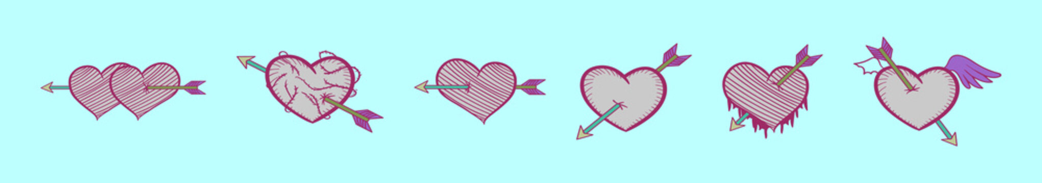 set of arrow through heart cartoon icon design template with various models. vector illustration isolated on blue background