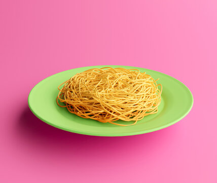 3d illustration of a spaguetti plate isolated