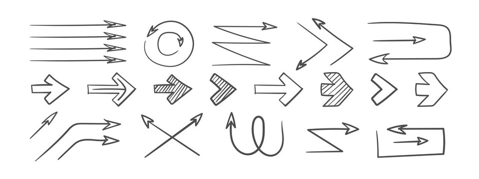 Arrows. Grunge arrows. Hand drawn arrows. Set of vector curved arrows. Sketch doodle style. Vector illustration