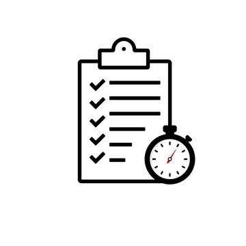 Fast service icon. Project management, improvement checklist, survey clipboard, registration concept, time period.Vector EPS 10. Isolated on white background