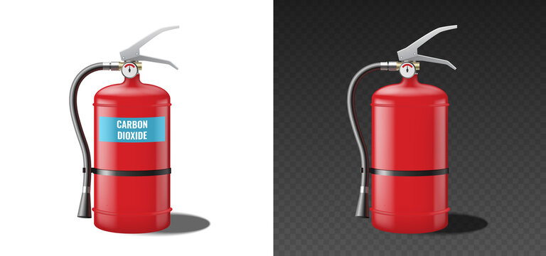Carbon dioxide fire extinguisher, red realistic template mockup isolated