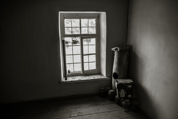interior of an old abandoned building. Interior of a vintage ruined dirty room. Daytime