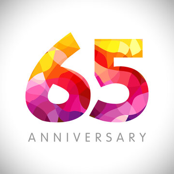 65 th anniversary numbers. 65 years old logotype. Bright congrats. Isolated abstract graphic web design template. Creative 5, 6 3D digits. Up to 65% percent off discount idea. Congratulation concept.