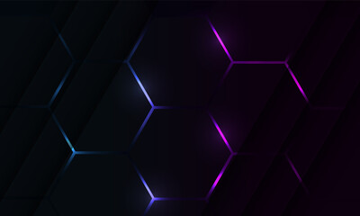 Fototapeta Dark hexagon gaming abstract vector background with blue and pink colored bright flashes. obraz