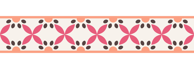 Border line seamless background. Decorative design seamless ornamental mosaic border pattern. Islamic, indian, arabic motifs. Abstract flower. Vector illustration