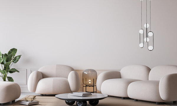White living room in modern design, minimal clear space on empty bright background, 3d render