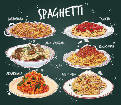 Hand drawn vector illustration of 6 common spaghetti dishes on plates.
