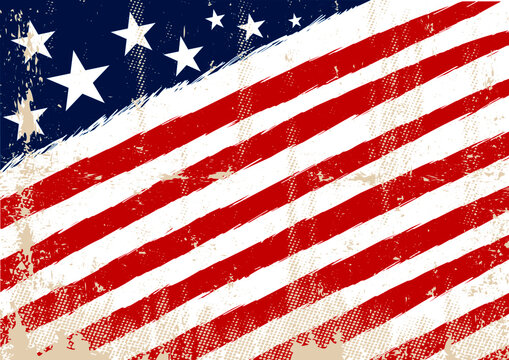 Horizontal american flag with and a texture for your advertising