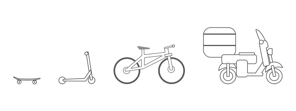 Bicycle, skateboard, scooter - wheeled devices, vector illustration isolated on white background.