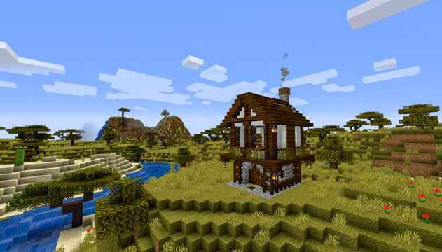 Minecraft Game – January 27 2020: Sample of Simply Wooden House in Minecraft Game 3D illustration. Editorial