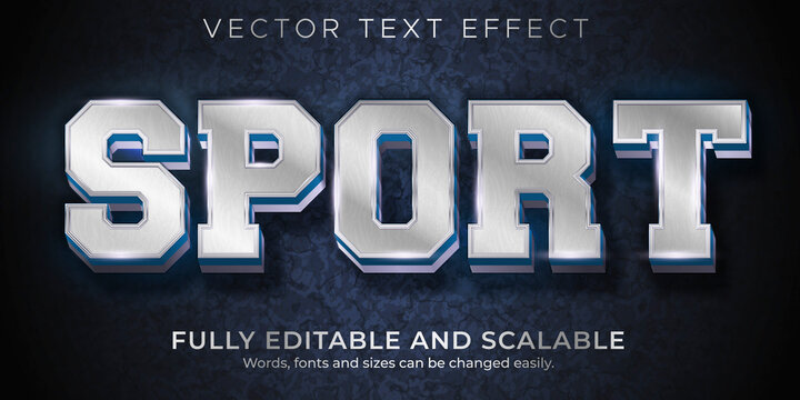 Sport Metallic  text effect, editable football and baseball text style