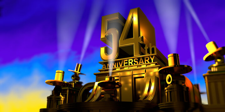 54th anniversary in thick letters on a golden building illuminated by 6 floodlights with white light on a blue sky at sunset. 3D Illustration