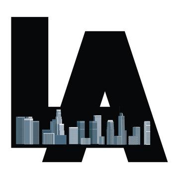 Los Angeles logo, emblem, sign, symbol - brochure, booklet, book, label, magazine, leaflet, presentation cover modern design with downtown LA cityscape. Vector illustration