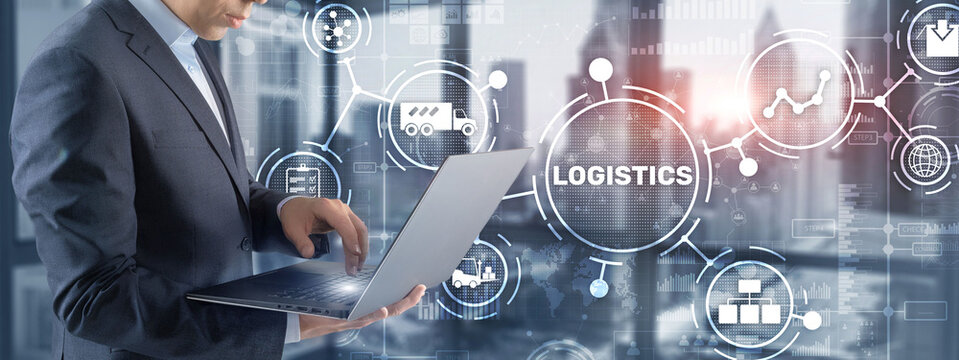 Logistic network distribution and transport concept. Goods delivery.