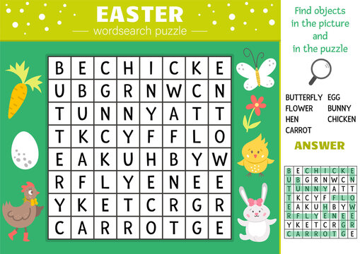 Vector Easter wordsearch puzzle for kids. Simple spring crossword with traditional holiday symbols for children. Educational keyword activity with cute funny characters and objects.